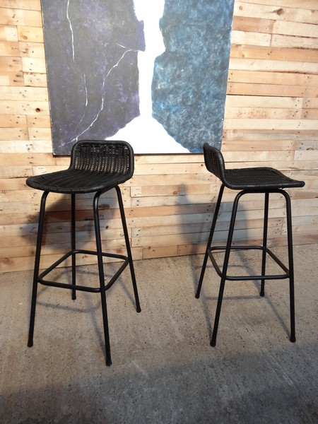 Two black high chairs