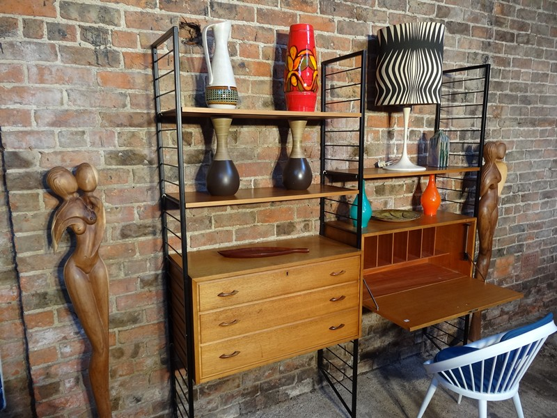 **SOLD**metal framed teak wall System