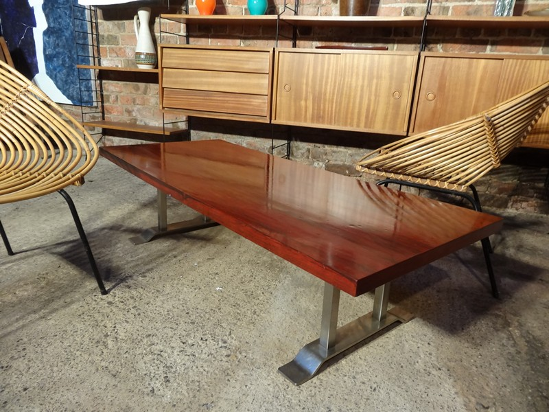1960's Retro chrome rosewood  coffee table