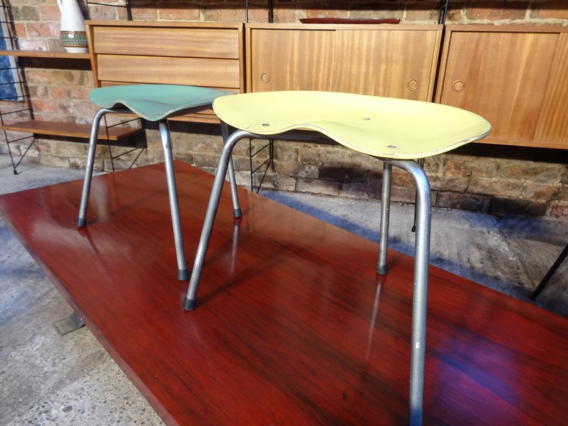 French 1950's stools on metal legs