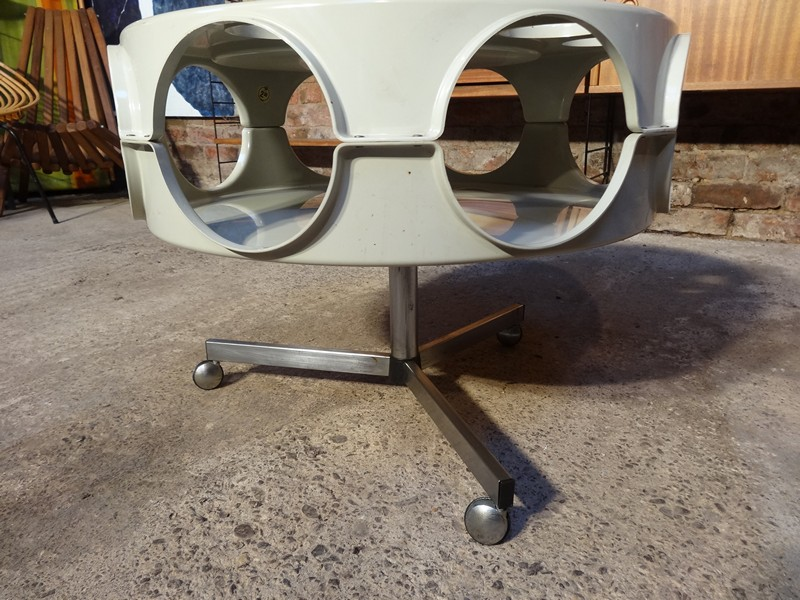 SOLD - chrome plastic round drinks stand / trolley