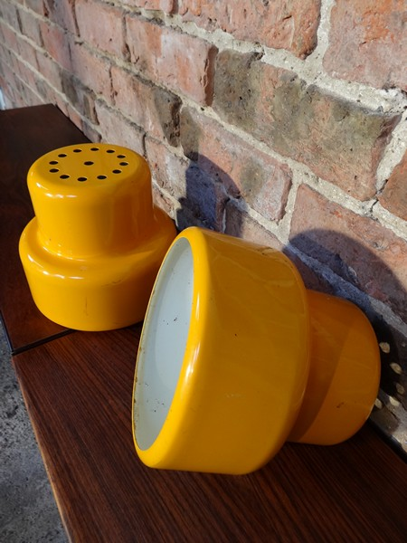 1960's yellow enamal light shades (2)