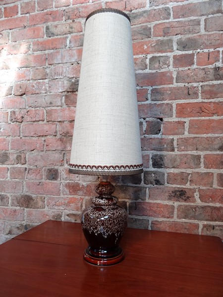 1960's retro red/brown ceramic light base with lampshade