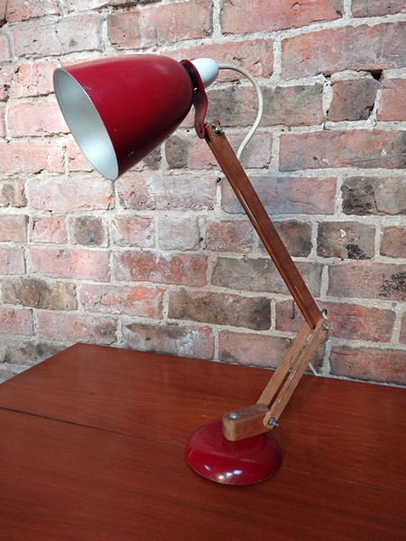 1950's retro wooden anglepoise light.