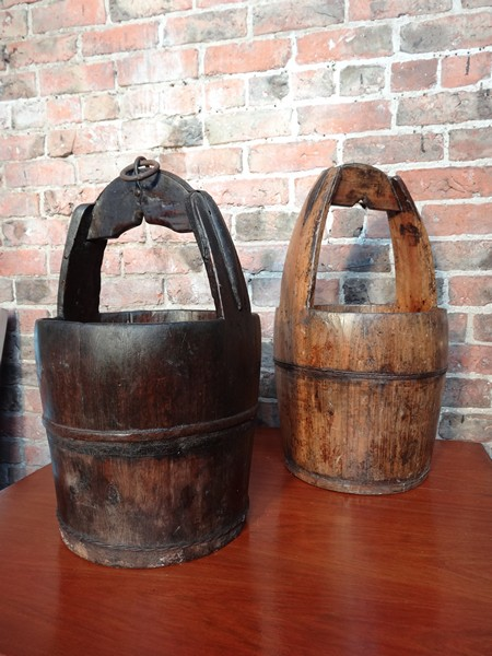 antique chinese water bucket dark wood