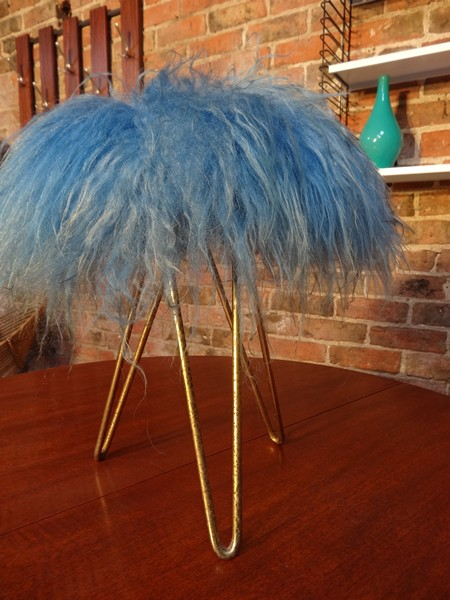 **SOLD**Crazy 1950's stool on metal legs