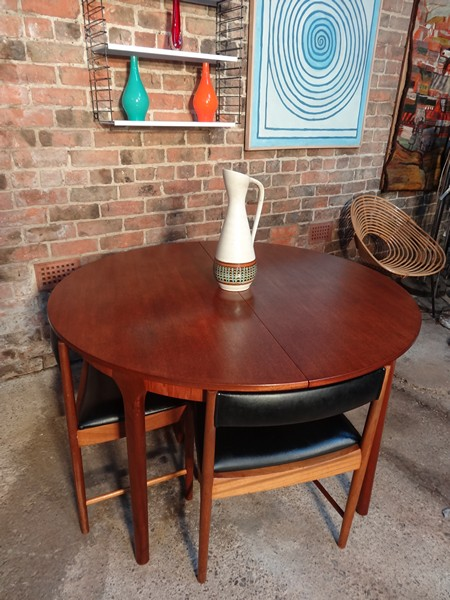 SOLD - 4 English Mcintosh Chairs and teak (extendable) table