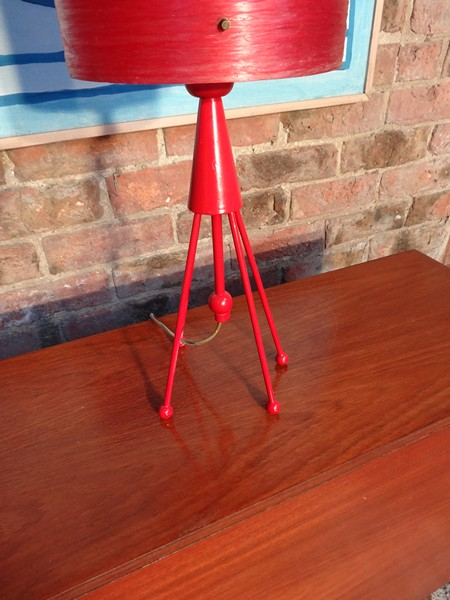 1960's red 'rocket' table lamp