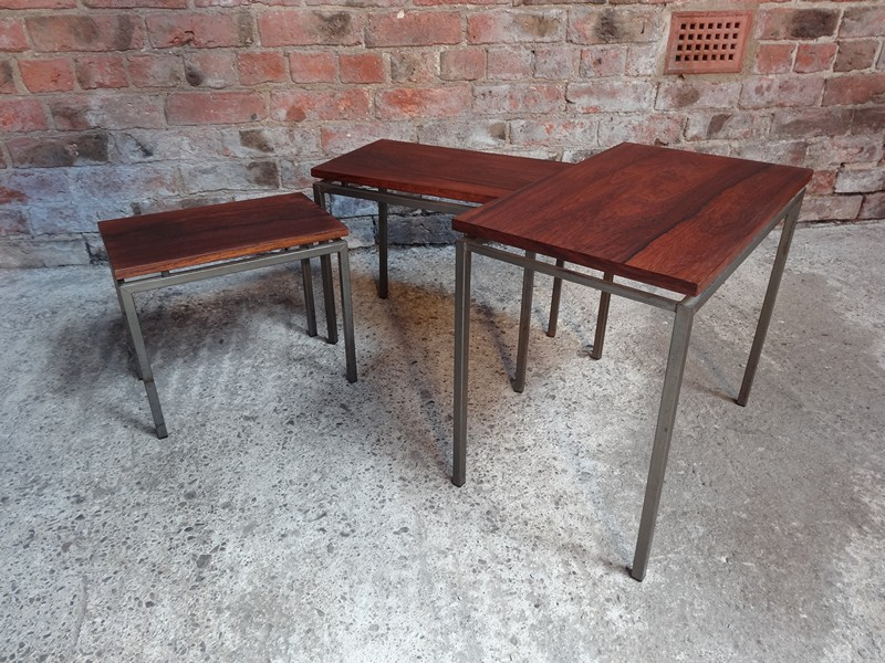 **SOLD**Rosewood metal Stiemsma metal framed nest of tables (3)
