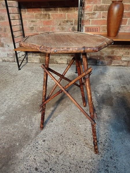 SOLD - ca 1920 Arts & Craft cane pair of tables