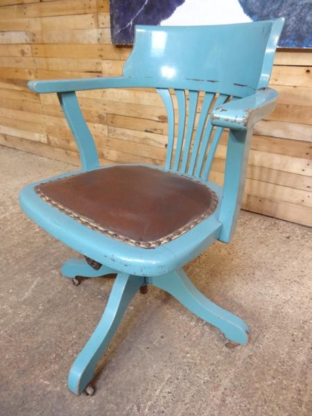 SOLD - ca 1920 English swivel captain chair