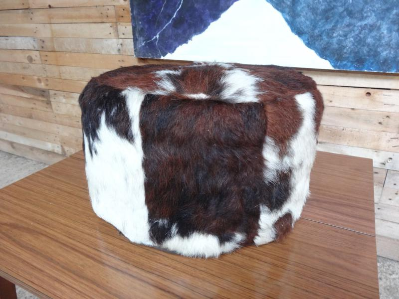 1960's cow hide poof