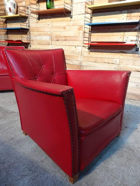 ca 1930 red vinyl art deco chairs (price on request)
