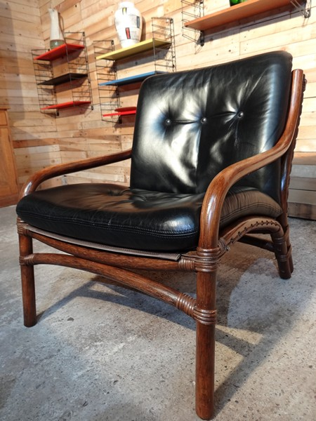 1960s black leather bamboo designer Chair