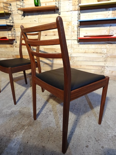 **SOLD**2 Danish teak / black vinyl Chairs