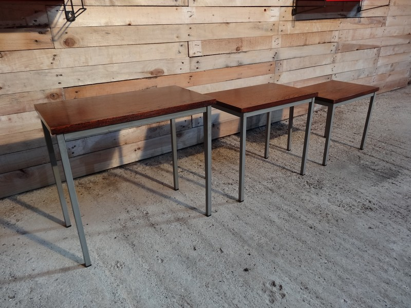 Metal Stiemsma grey metal framed teak nest of tables (3)