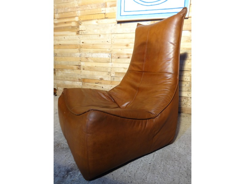 "SOLD - "" The Rock"" Gerard van de Berg cognac coloured leather chair (price on request)"