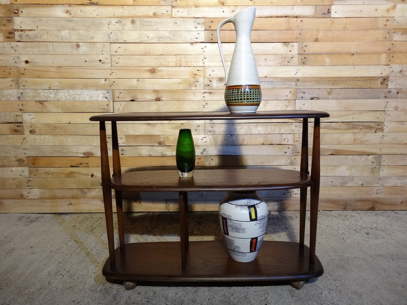 Ercol Vintage Retro Dark Elm Shelves Bookcase Cabinet