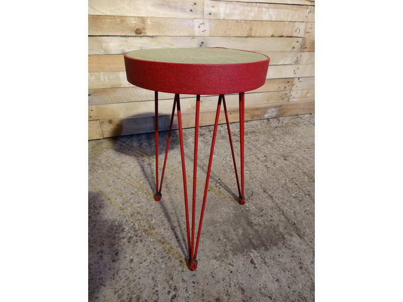 1950's red metal stool price on request