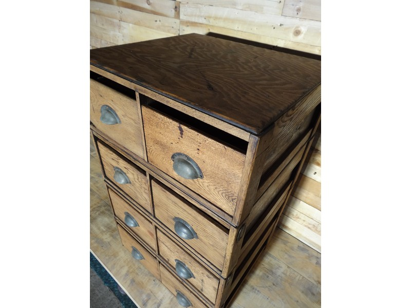 English ca 1943 large set of Air Ministry vintage Oak drawer unit (price on request)