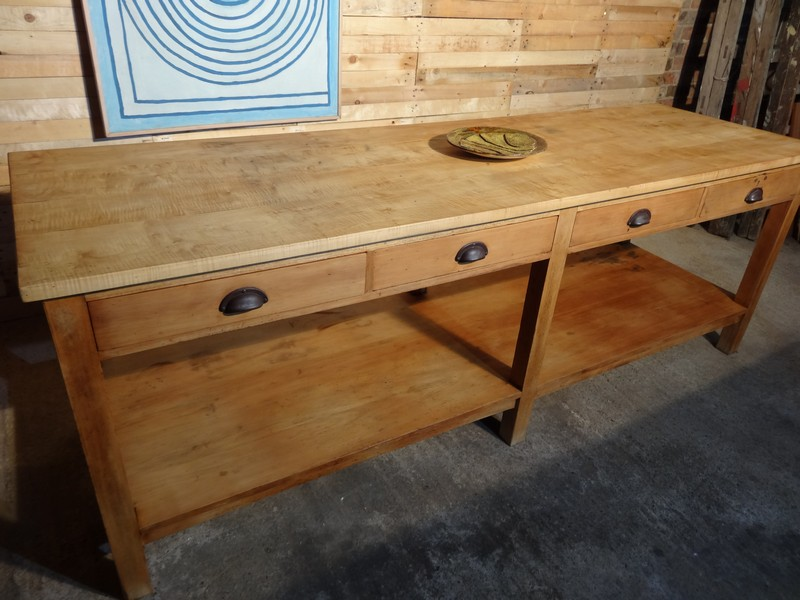 **SOLD**ca 1890 large Oak / Beech kitchen island / table with drawers