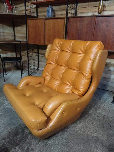 1950-60's yellow / orange retro egg arm chair
