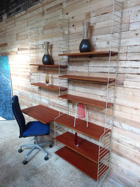 **SOLD**Danish String metal framed teak wall System