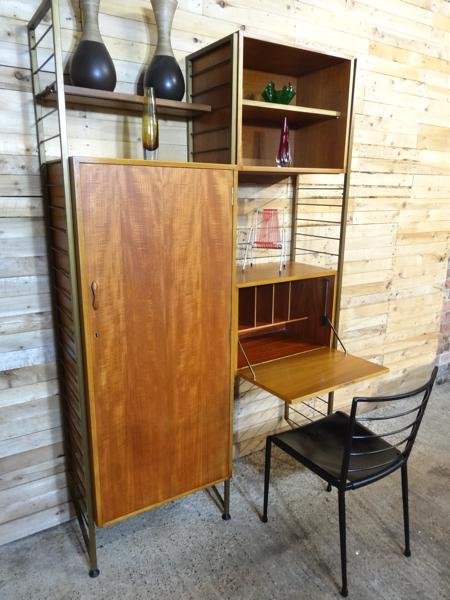 SOLD - Bronzed Metal framed teak Hallway / Desk Wall System