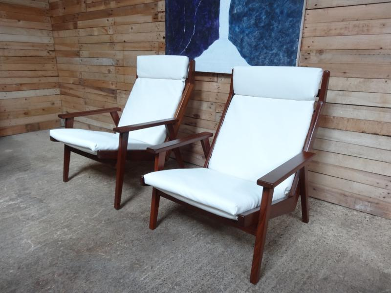 **SOLD**Dutch Robert Parry teak arm chair with new leather seating cushions (price on request)