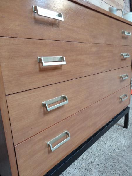 1960's teak chest of drawers with metal base in mint cond