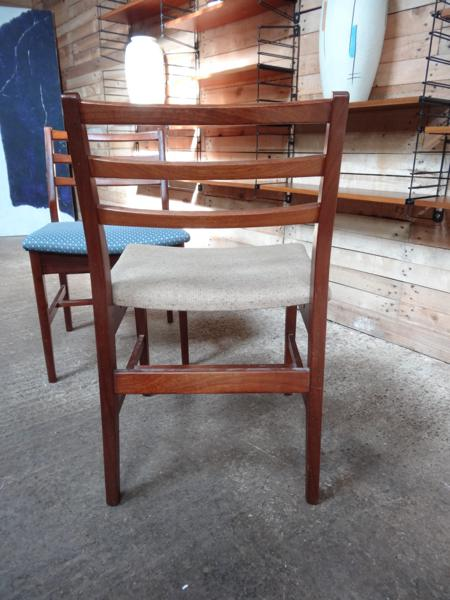 2 teak /  fabric Chairs