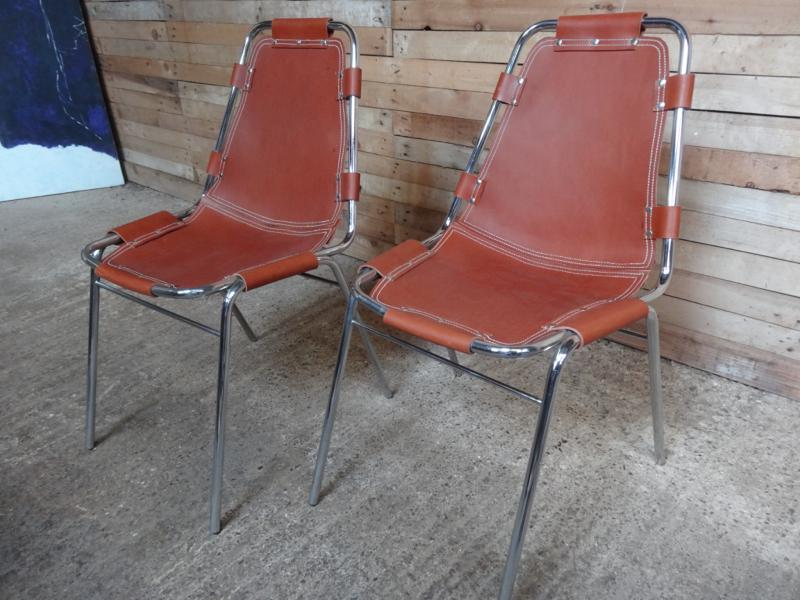 2x leather Charlotte Perriand Chairs For Les Arcs 1960