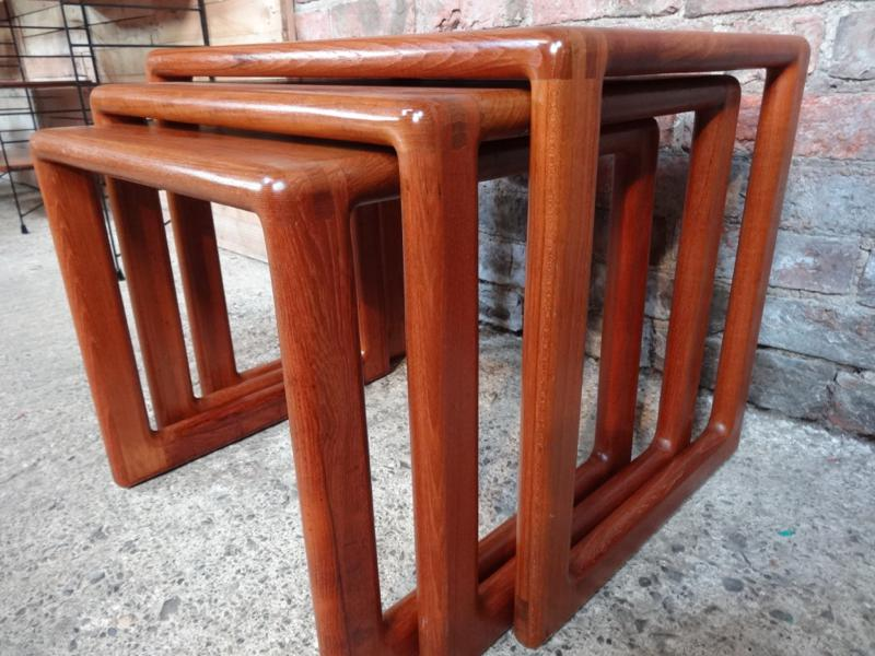 Rare set of three solid teak mid century modern Dyrlund nesting tables (3) (price on request)