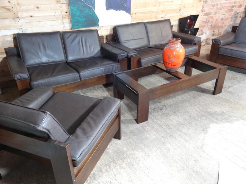 1970's Vintage Leolux black / dark brown leather two seater sofa (price on request)