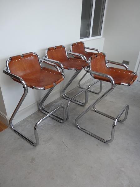 4x leather Charlotte Perriand Stools for Les Arcs 1960