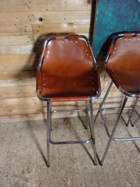 **SOLD**4x leather Charlotte Perriand Stools for Les Arcs 1960 (Price on request)