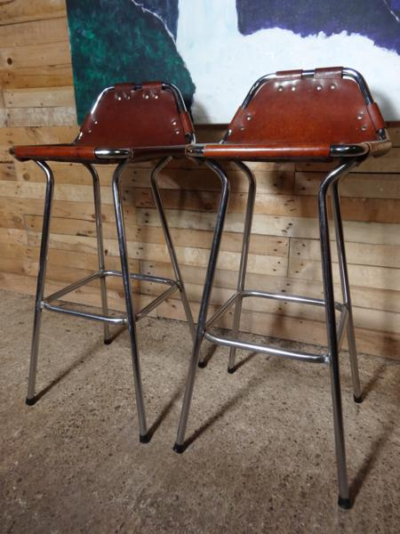 2x leather Charlotte Perriand Stools for Les Arcs 1960 (Price on request)