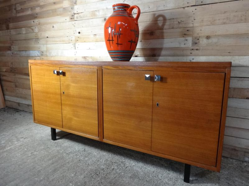 Medium large Teak Sideboard on metal feet (101)