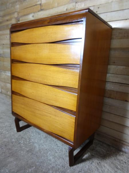 SOLD-1960's teak chest of drawers on lovely U legs mint cond
