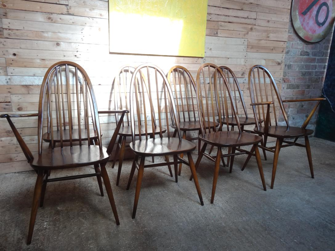 Set of 8 Ercol dining chairs