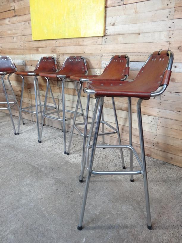 Sought after ''hourglass framed'' 6x leather Charlotte Perriand bar Stools for Les Arcs 1960