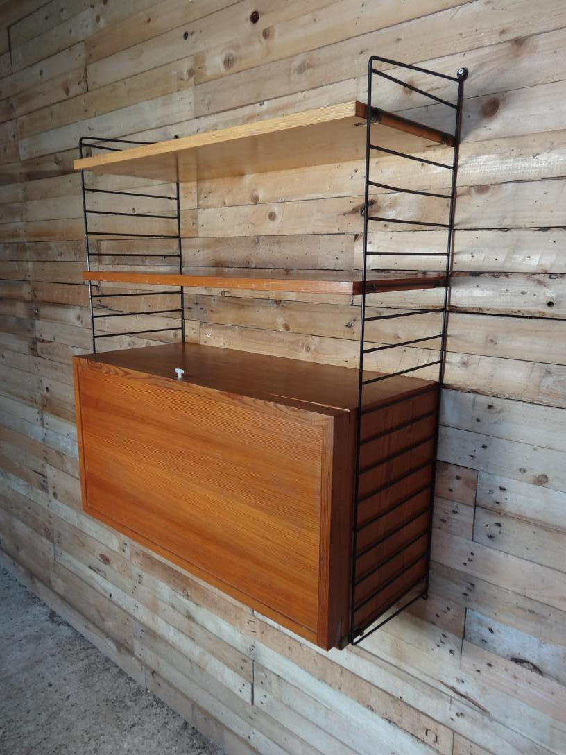 sought after Large String metal framed wall System with record cabinet and two shelves (S5)