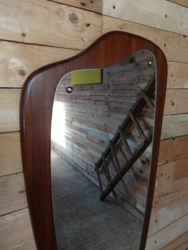 1960 teak organice shaped mirror