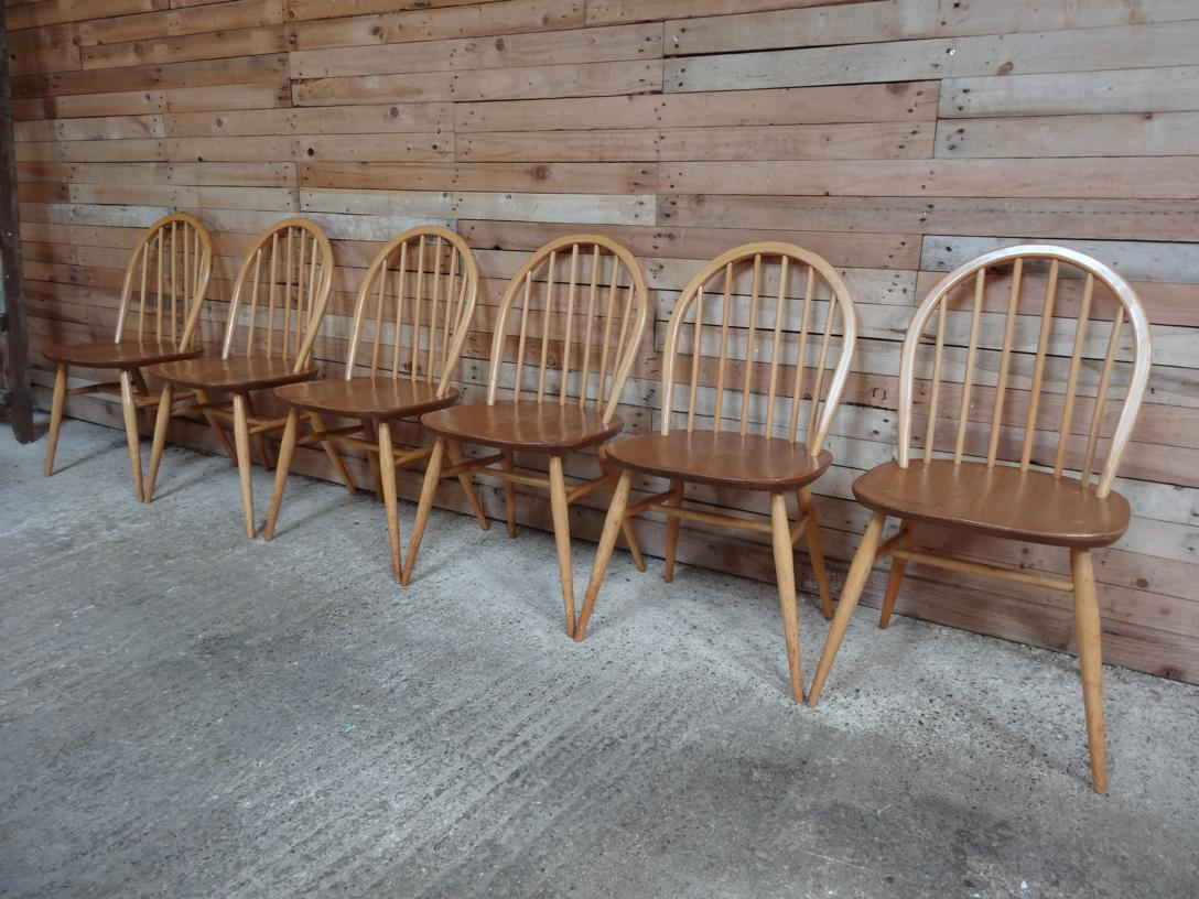 SOLD - Ercol Quaker Hoop back Original Windsor Dining Chairs (6x)