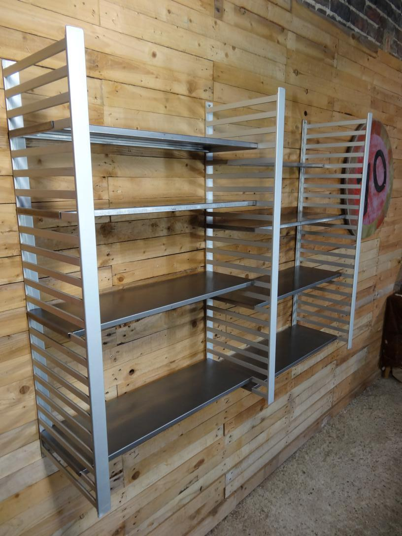 Large Vintage Retro Industrial stainless steel / Aluminimum Shelving Rack (B42, price on request)