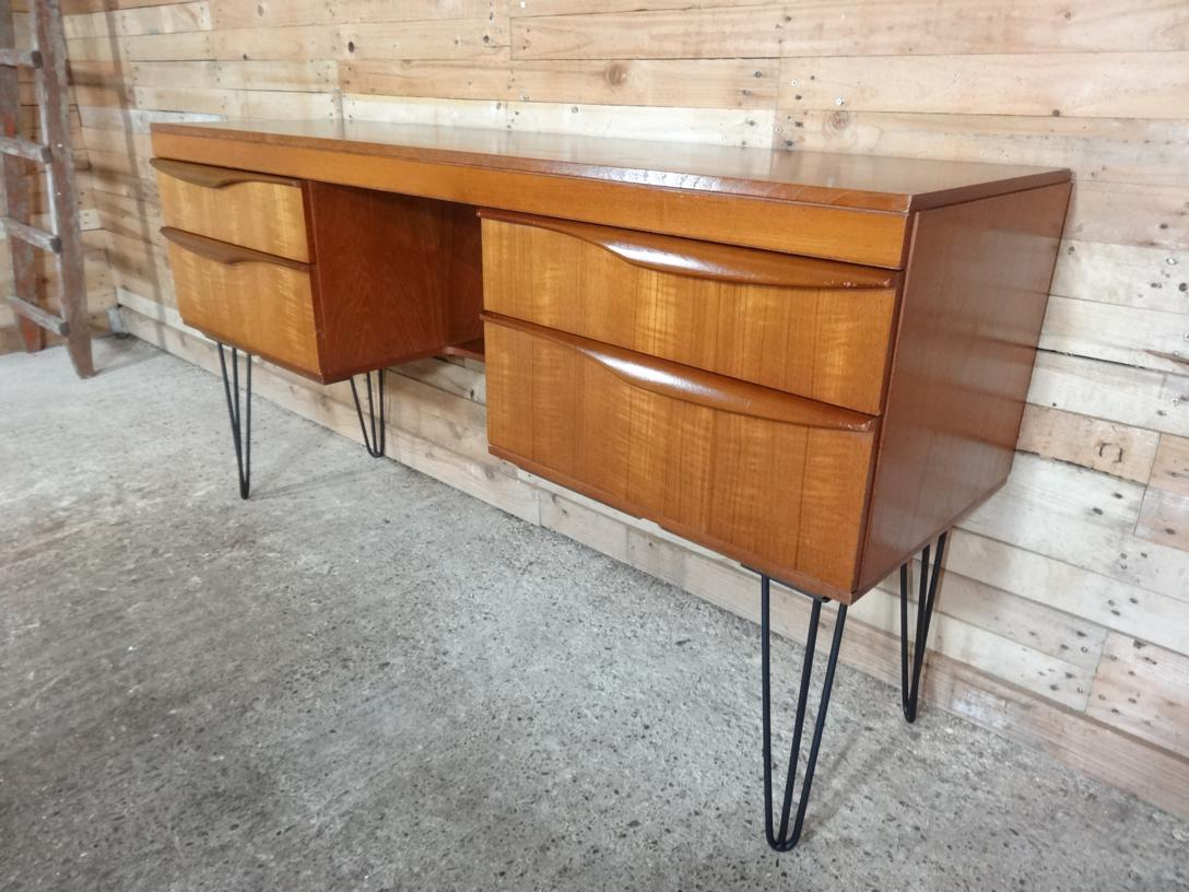 Tall Danish Teak Desk with hairpin legs