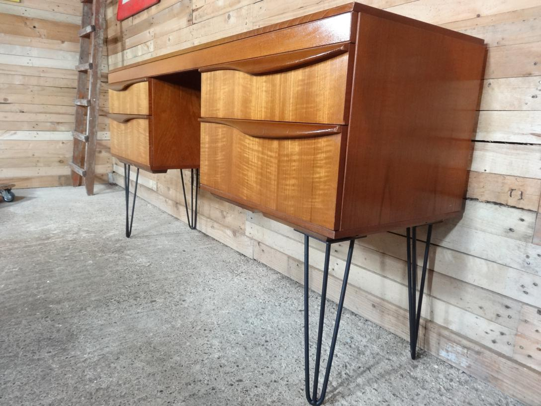 sold - Tall Danish Teak Desk with hairpin legs