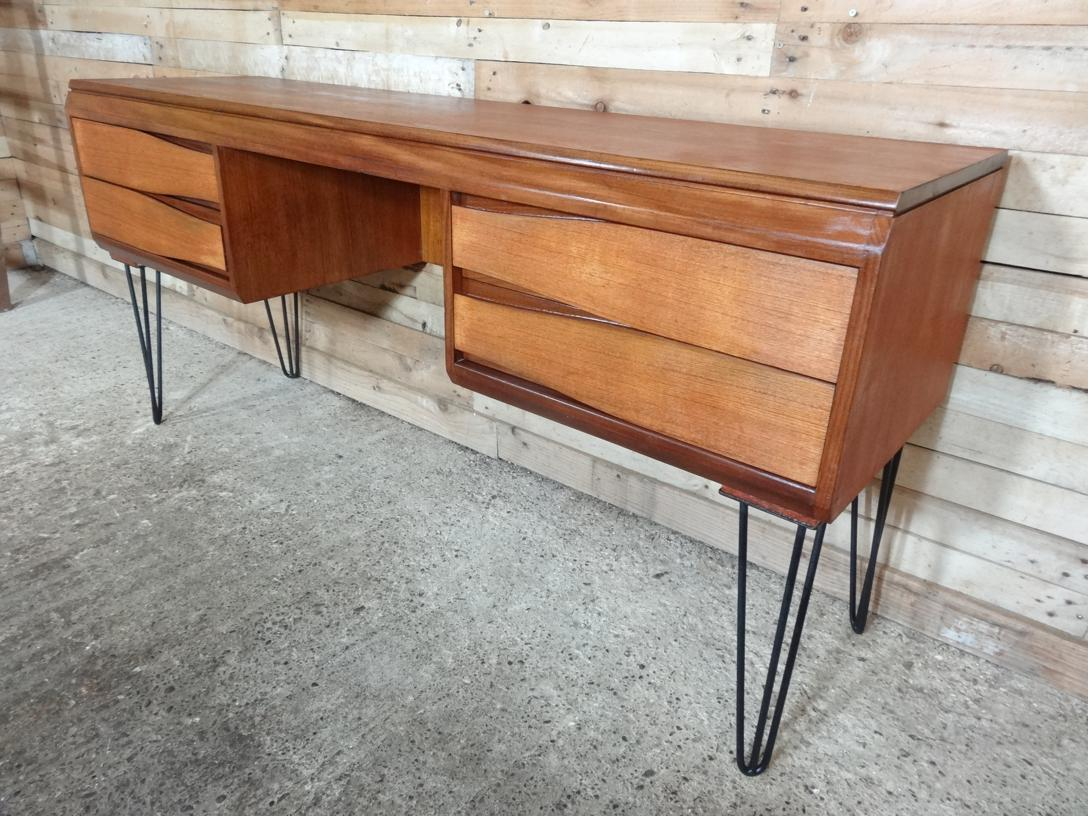 SOLD - Danish Teak Desk with hairpin legs