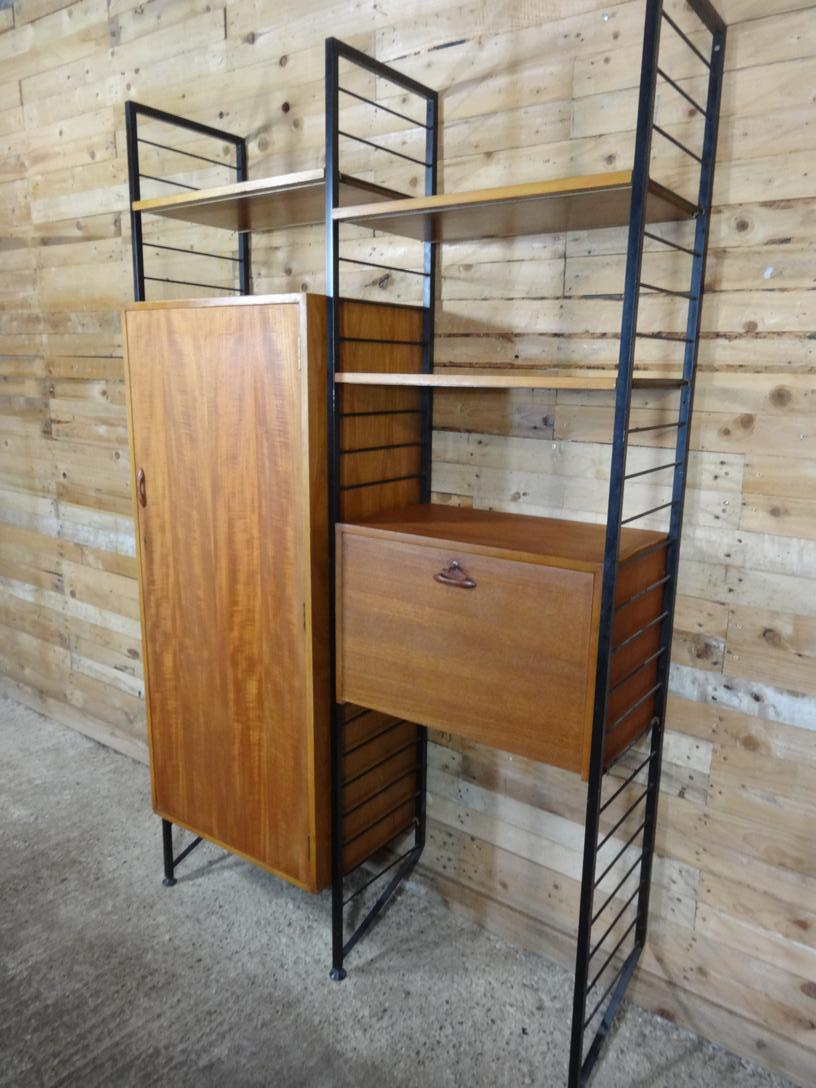 Black Metal framed teak Hallway / Desk Wall System