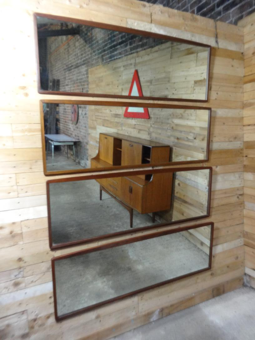 1960 large horizontal teak mirror set of 4 mirrors